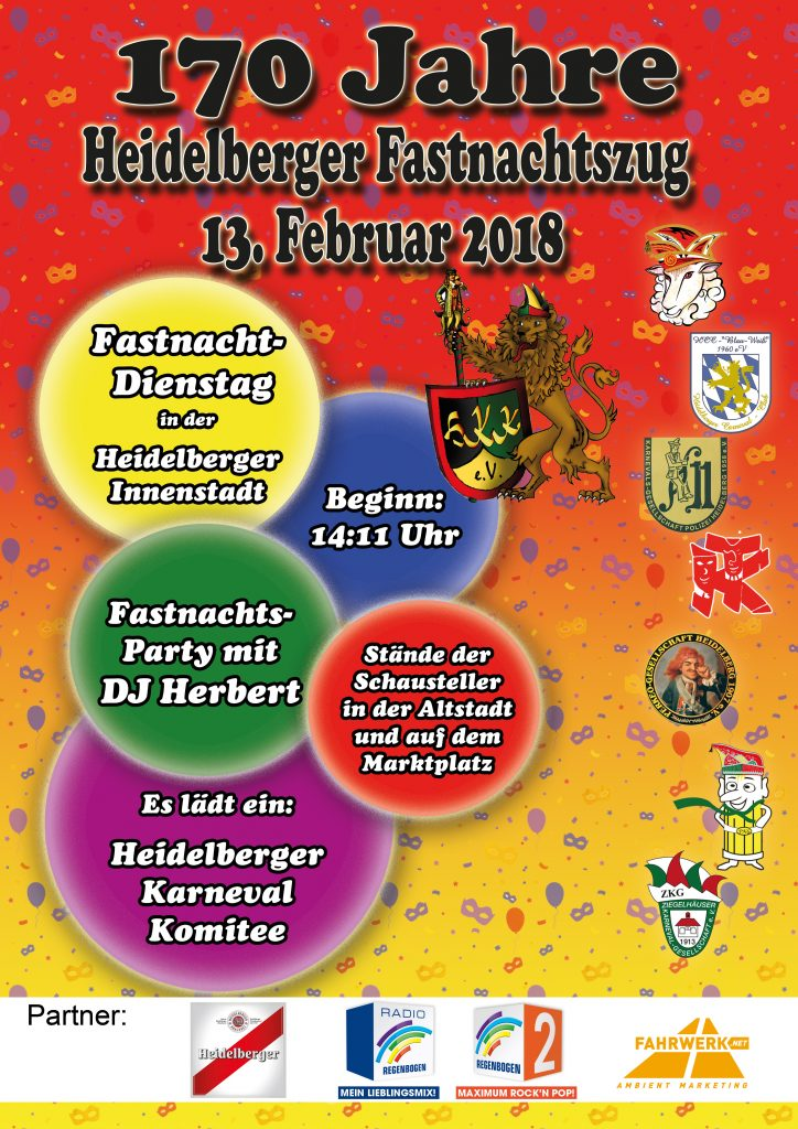 170 Jahre Heidelberger Fastnachtszug am 13. Februar 2018 - HKK - Heidelberger Karneval Komitee 1952 e.V.