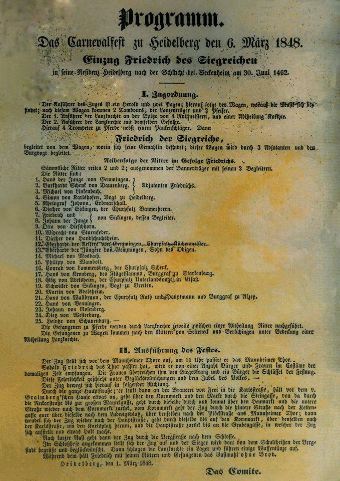 Der erste Fastnachtszug in Heidelberg fand am 6. März 1848 statt.