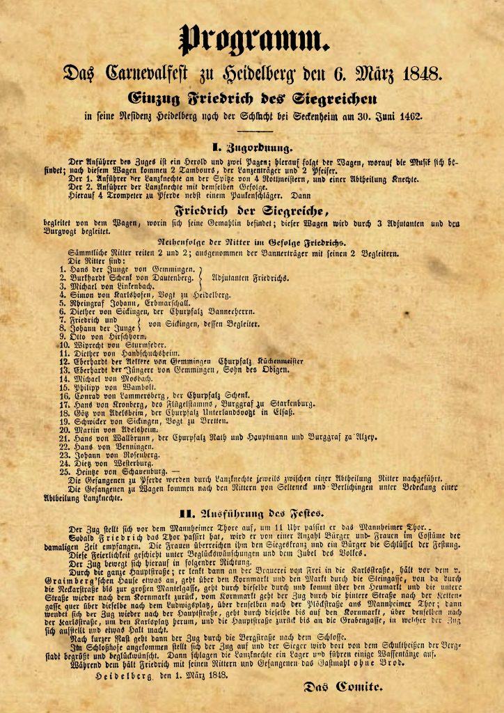 Carnevalfest zu Heidelberg - Erster Fastnachtszug in Heidelberg am 6.März 1848
